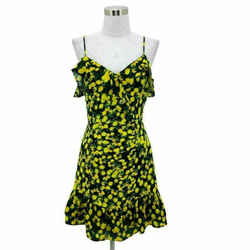 N755 New Parker Dress Size 4 Small Black Lemon Print Drop Waist Sundress