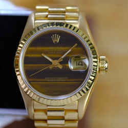 Rolex Ladies Datejust Factory Wood Dial 18K Gold- ALL FACTORY
