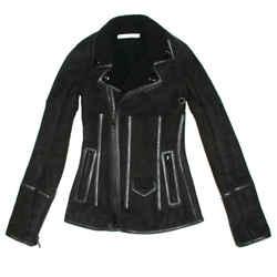 Givenchy - Shearling Moto Jacket Coat Ricardo Tisci  Black Suede Zip - Us 0 - 34