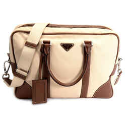 Prada Beige Canvas And Saffiano Leather Briefcase Bag