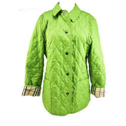 """Burberry London: Spring Green & """"nova Check"""" Quilted Jacket/coat Sz: M"""