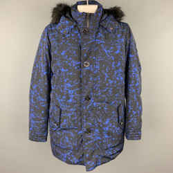 MICHAEL KORS Weather Engineered Size XL Black & Blue Print Polyester Hooded Parka Coat