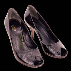 Gucci Black Patent Leather Horsebit Peep Toe Pumps SZ 36.5
