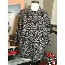 Christian Siriano Size Xs Gray & Black Wool Knit Animal Print Jacket 2437-9-2520
