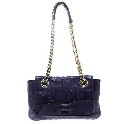 Carolina Herrera Purple Monogram Leather Audrey Shoulder Bag Leprix