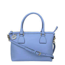 Gucci Women's Gg Charm Powder Blue Leather Medium Convertible Straight Bag With