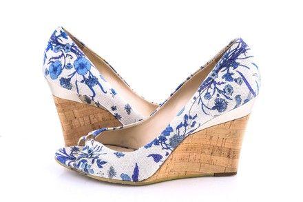 Gucci Indigo Floral Canvas Peep-toe