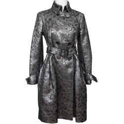 Burberry Metallic Silver Coat Trench Brocade Double Breasted Belt Brit Sz 4