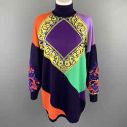 Gianni Versace 1980's Purple Orange Green & Yellow Baroque Wool Sweater