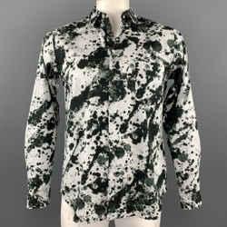 COMME des GARCONS BLACK Size L Black & White Splattered Cotton Long Sleeve Shirt