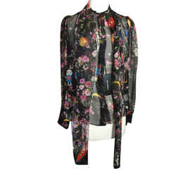 Dolce & Gabbana Size 36 Black Silk Floral Moons Robot Blouse Nwt 2400-94-12119