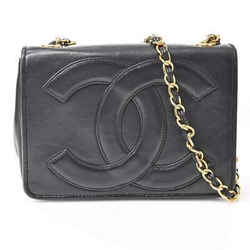 Auth Chanel Chanel Lambskin Deca Coco Mark Full Flap Chain Shoulder Bag Black Le