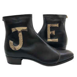 Black Leather & Lizard Elton John Zip-Up Boots