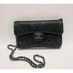 Chanel Black Satin Shoulder Evening Bag Swarovski Crystals 2004