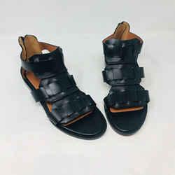 Givenchy 37.5 Black Leather Gladiator Flat Sandals 2400-513-123119