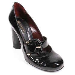 Burberry - Mary Jane Block Heels - Black Patent Leather Buckle Pump  Us 7.5 - 38