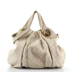 Hysteria Convertible Top Handle Bag Guccissima Leather Large