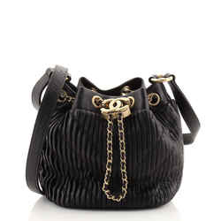 Coco Pleats Drawstring Bag Pleated Crumpled Calfskin Small