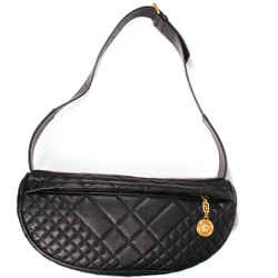 Versace - New - Belt Bag Medusa Quilted Jumbo Black Leather Gold Zip - Us Large