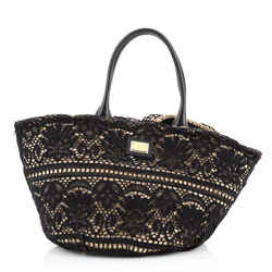 Kendra Basket Bag Woven Straw and Floral Lace