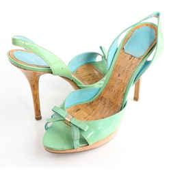 Dior Shimmery Leather Bow Detail Platform Sandals