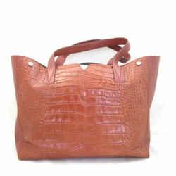 Vince Congac Brown 'Signature V' Leather Crocodile Embossed Tote Bag 0302EB