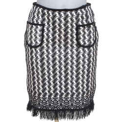 CHANEL Skirt Knit Sweater Black White Print Wool Blend Fringe Sz 40 Fall 2004