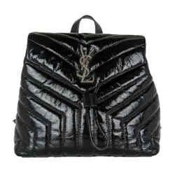 Saint Laurent Monogram Loulou Matelasse Small Black Patent Leather Backpack