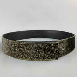 DRIES VAN NOTEN Size M Brown & Green Dot Print Calf Hair Velcro Belt
