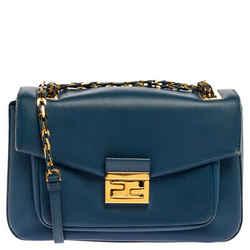 Fendi Blue Leather Be Baguette Shoulder Bag