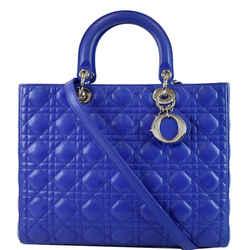 Large Lady Dior Lambskin Leather Shoulder Bag Blue