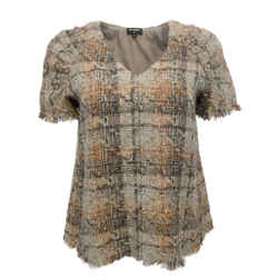 Chanel Brown Multi / Orange Short Sleeve Tweed Top