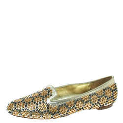 Alexander McQueen Metallic Gold Studded Leather Smoking Slippers Size 39