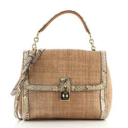 Miss Dolce Satchel Raffia with Snakeskin Medium
