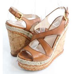 Prada Suede Crisscross Wicker Wedge Sandal