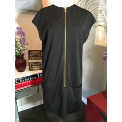 Celine Size 40 Black Viscose Exposed Zipper Shift  Dress 369-113-21920