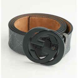 Gucci Imprime Monogram Interlocking G Belt - Black