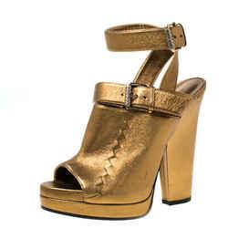 Bottega Veneta Metallic Gold Intrecciato Detail Leather Peep Toe Ankle Wrap P...
