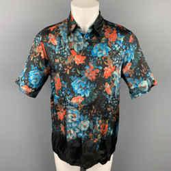 DRIES VAN NOTEN S/S 20 Size XS Black & Blue Floral Viscose Button Up Short Sleeve Shirt