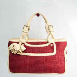 Celine Boogie Women's Leather,Straw Handbag Cream,Dark Red BF524094