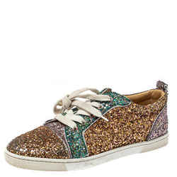 Christian Louboutin Tricolor Glitters Louis Junior Orlato Low Top Sneakers Size