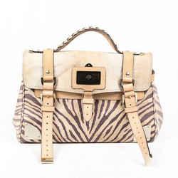 Mulberry Bag Travel Day Beige Zebra Print Leather Satchel