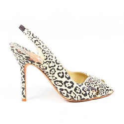 Manolo Blahnik Pumps Cream Leopard Print Leather Peep Toe Slingback SZ 37.5