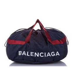 Vintage Authentic Balenciaga Black S Wheel Everyday Nylon Travel Bag Italy