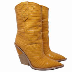 Fendi Yellow Embossed Leather Cowboy Boots 38.5/8.5