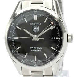 Polished TAG HEUER Carerra Twin Time Steel Automatic Mens Watch WV2115 BF532705