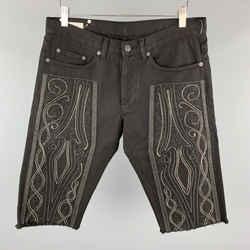 Dries Van Noten Size 31 Black Embroidered Denim Button Fly Shorts