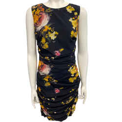 Dolce&Gabbana Black Multi Floral Ruched Cocktail Dress