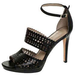 Tory Burch Black Laser Cut Scalloped Trim Leather Platform Ankle Strap Sandal...