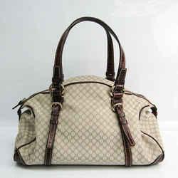 Celine Macadam Women's Canvas,Leather Handbag Dark Brown,Ivory BF522095